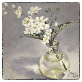 Kunstkaart Glazen Bolflesje met bloem, bemoediging, rouw