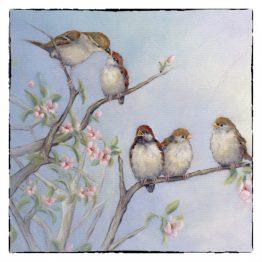 Kunstkaart kaart musjes vogels schilderijkaart Atelier for Hope Doetinchem