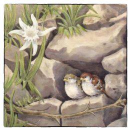 Kunstkaart schilderij Musjes in de rots, Atelier for Hope Doetinchem