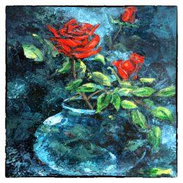 Kunstkaart schilderij Rode roosjes in vaasje, Atelier for Hope Doetinchem