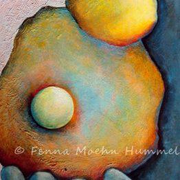Bijbels schilderij Parel in Gods hand, abstract Atelier for Hope